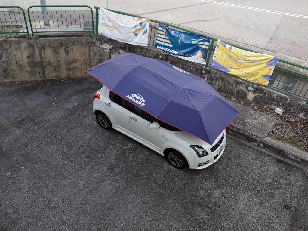 Car umbrella on a Suzuki Swift Sport