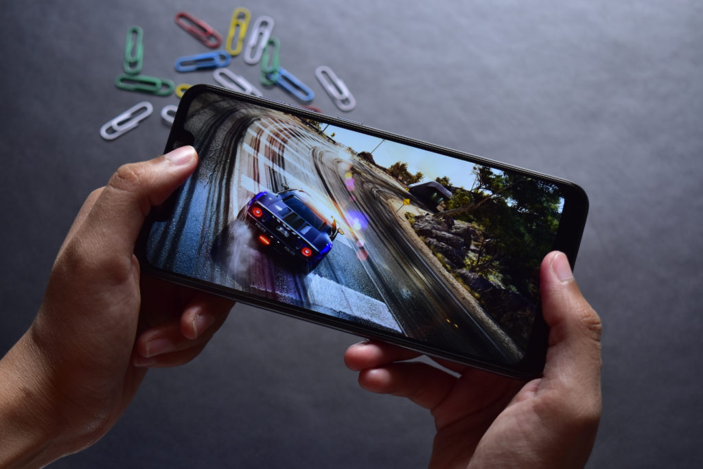 Playing a racing game on a smartphone