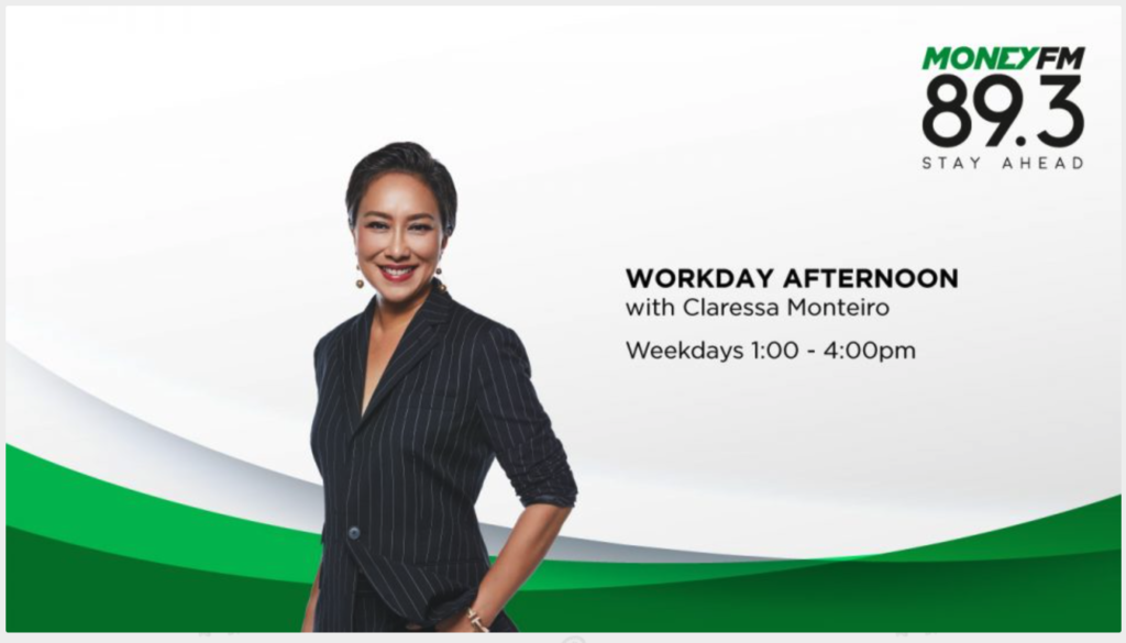 Claressa Monteiro is on MoneyFM 89.3 Weekday afternoons from 1:00pm to 4:00pm