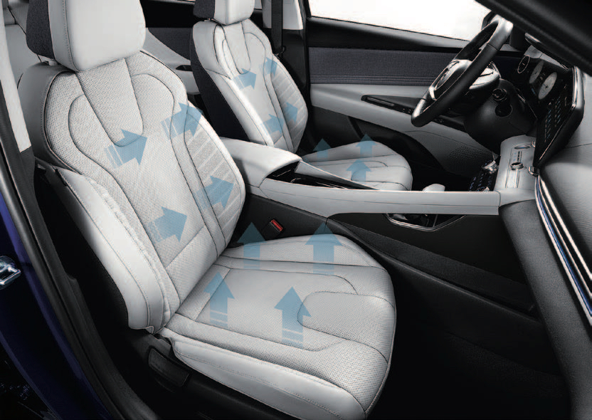 Ventilated front seats in the 2021 Hyundai Avante