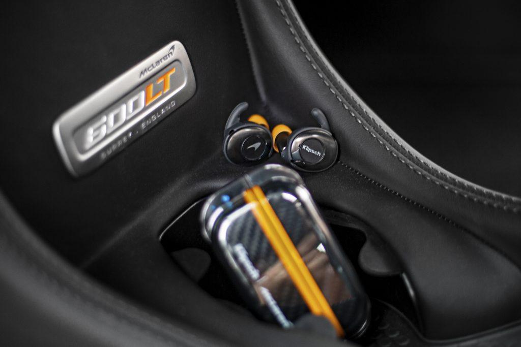 Klipsch T5 II True Wireless Sport McLaren Limited Edition earphones in a McLaren 600LT
