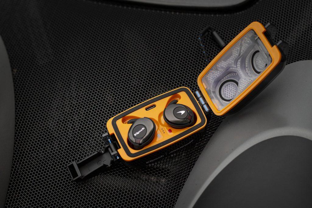Klipsch T5 II True Wireless Sport McLaren Edition with ear wings in carrying case