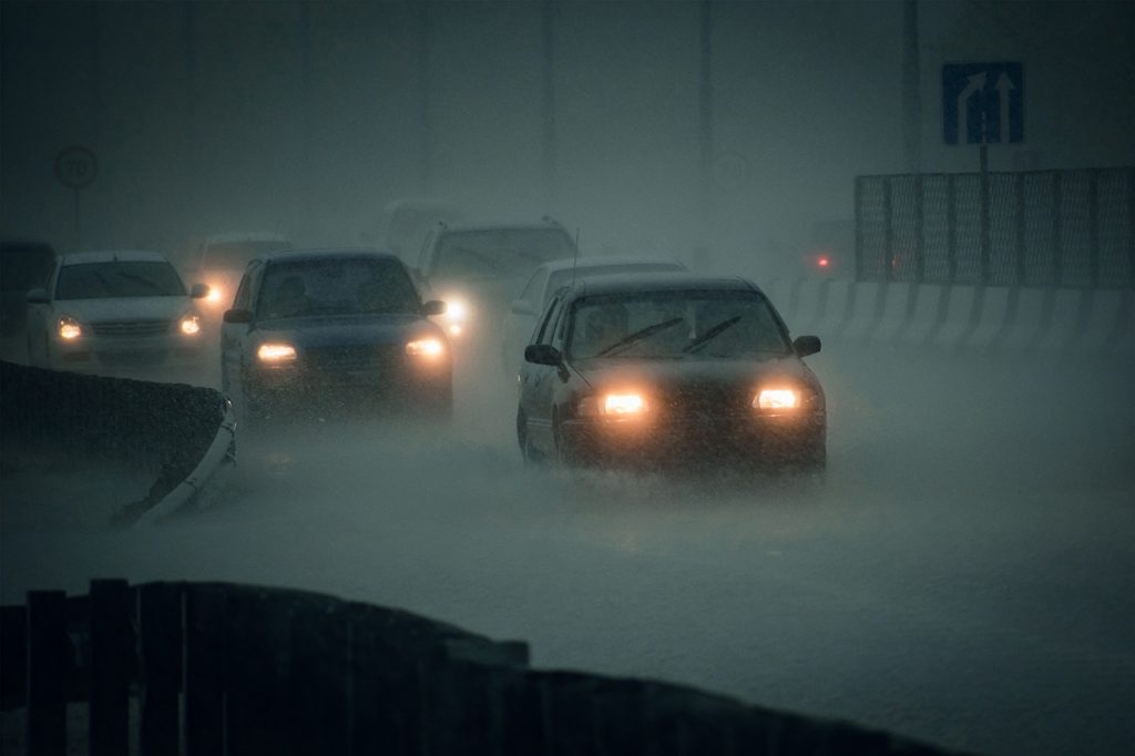 Headlights increase visibility in the rain.